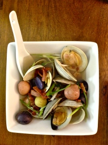 In this iteration of Chang's bacon dashi with clams, I had to be resourceful and use mixed baby potatoes. I liked the purple and red color.