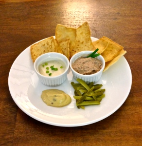 I served the pâté as an appetizer with dijon mustard, julienned cornichons, a horseradish mayo, and pita chips.
