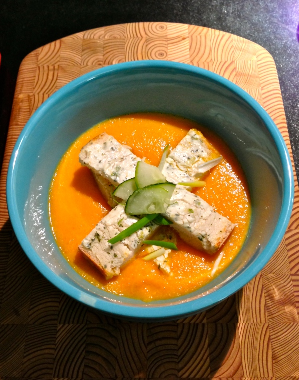 That night, the stock became carrot-ginger soup with croutons topped with chèvre, scallions, pickled ginger, honey, and thyme.