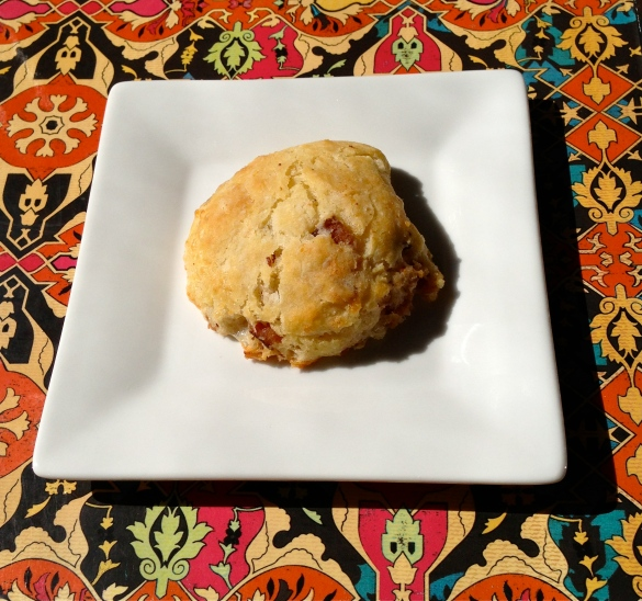 This is my version of the Tim Hortons savory tea biscuit. I cooked off four slices of bacon and cooled them completely. I chopped them and added them with 1/2 cup of shredded white cheddar to half of a batch of biscuits.