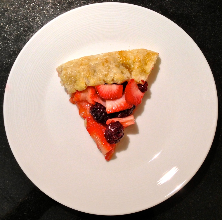 The meal ended with this berry crostata.