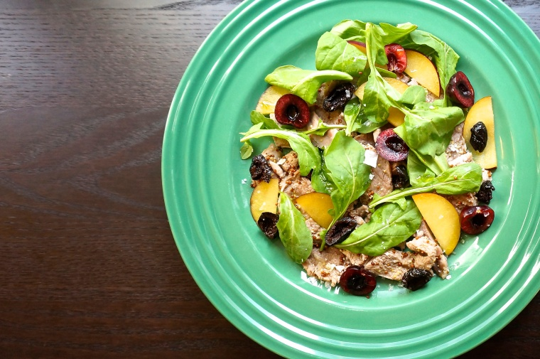 "Shaved Pork with Arugula, Plums, Cherries, and Olives, a variation on a recipe in Marc Vetri's ""Rustic Italian Food."""