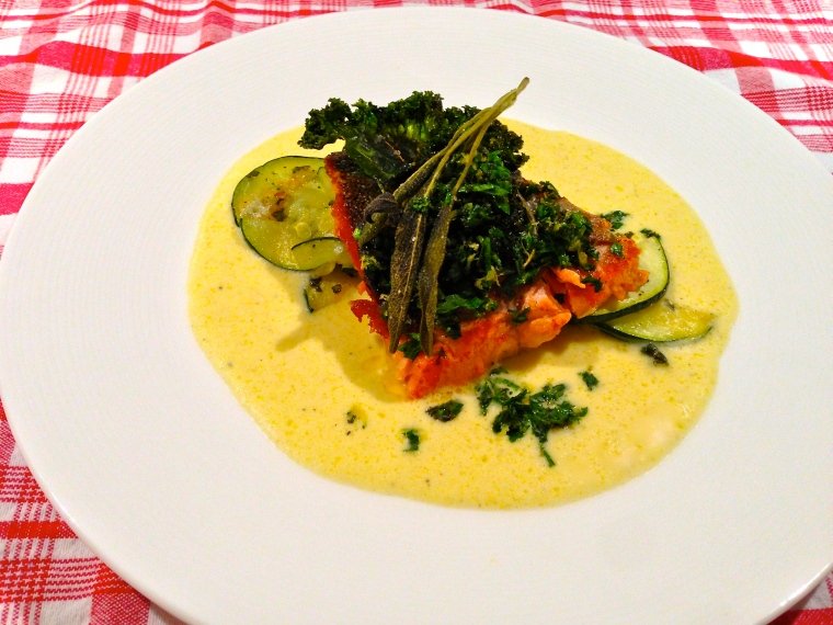 Pan-Seared Steelhead Trout with a parsley-crispy kale-lemon gremolata, crispy sage and kale chips, sautéed zucchini, and sweet corn crema.